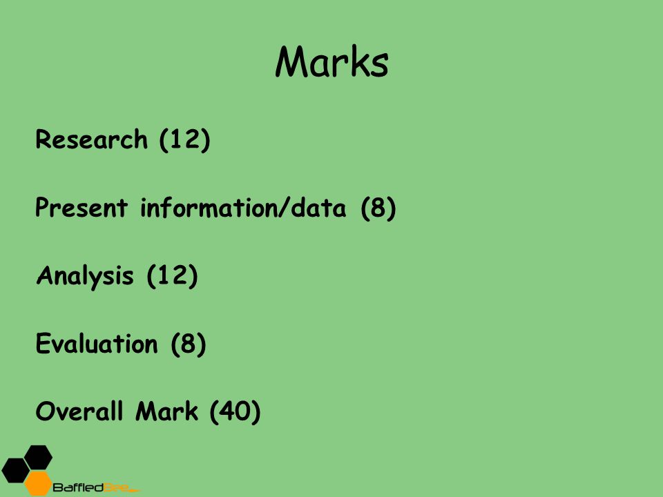 Marks Research (12) Present information/data (8) Analysis (12)