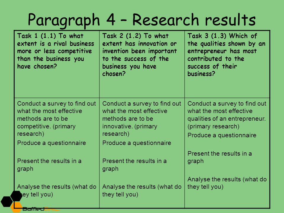 Paragraph 4 – Research results