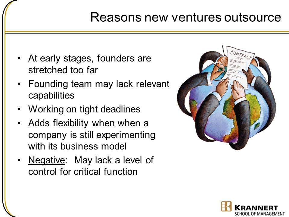Reasons new ventures outsource