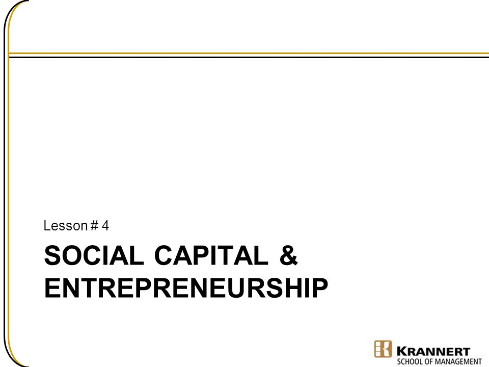 Social capital & Entrepreneurship