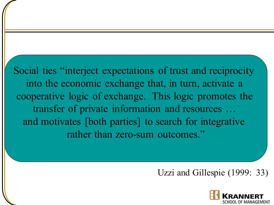Social ties interject expectations of trust and reciprocity