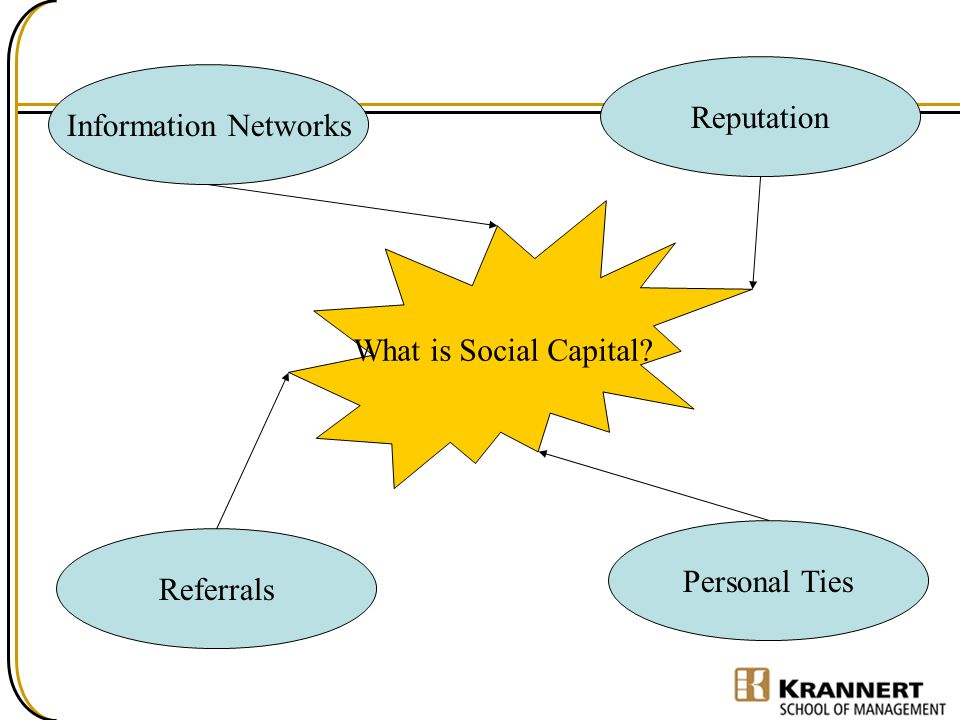 Reputation Information Networks What is Social Capital Personal Ties Referrals