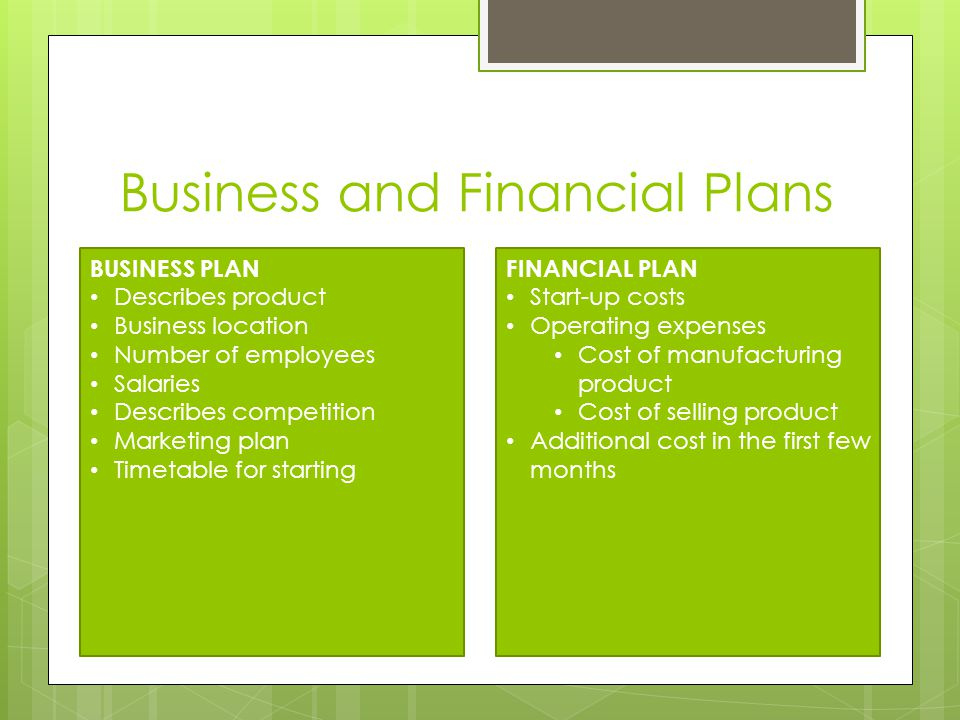 Business and Financial Plans