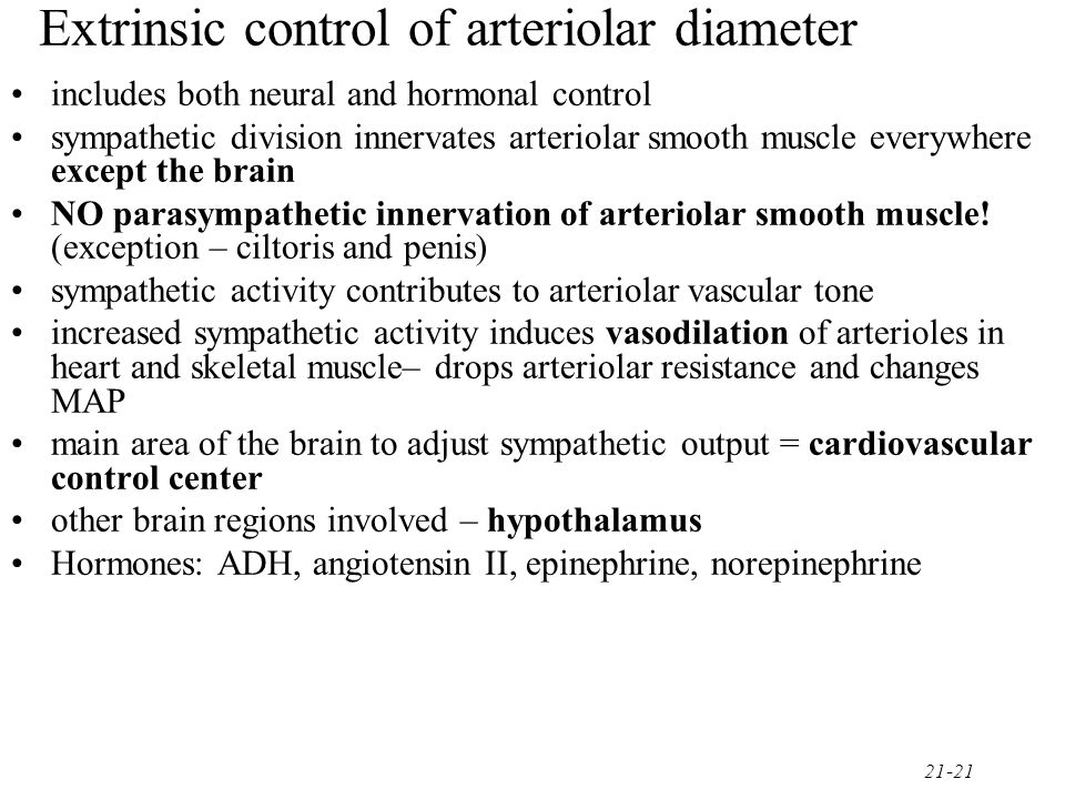 Extrinsic control of arteriolar diameter