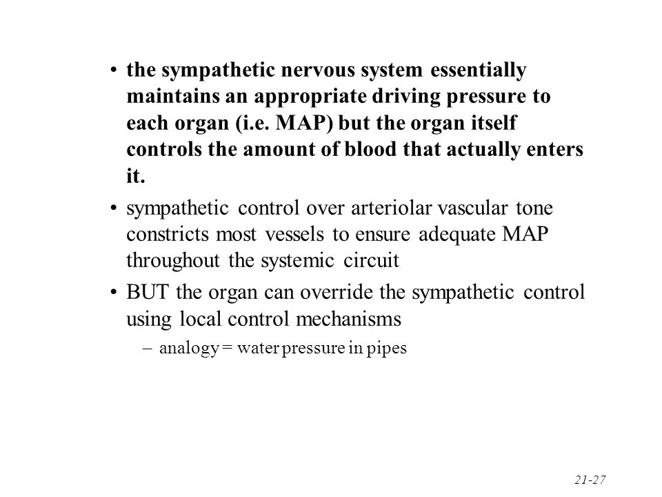 the sympathetic nervous system essentially maintains an appropriate driving pressure to each organ (i.e. MAP) but the organ itself controls the amount of blood that actually enters it.