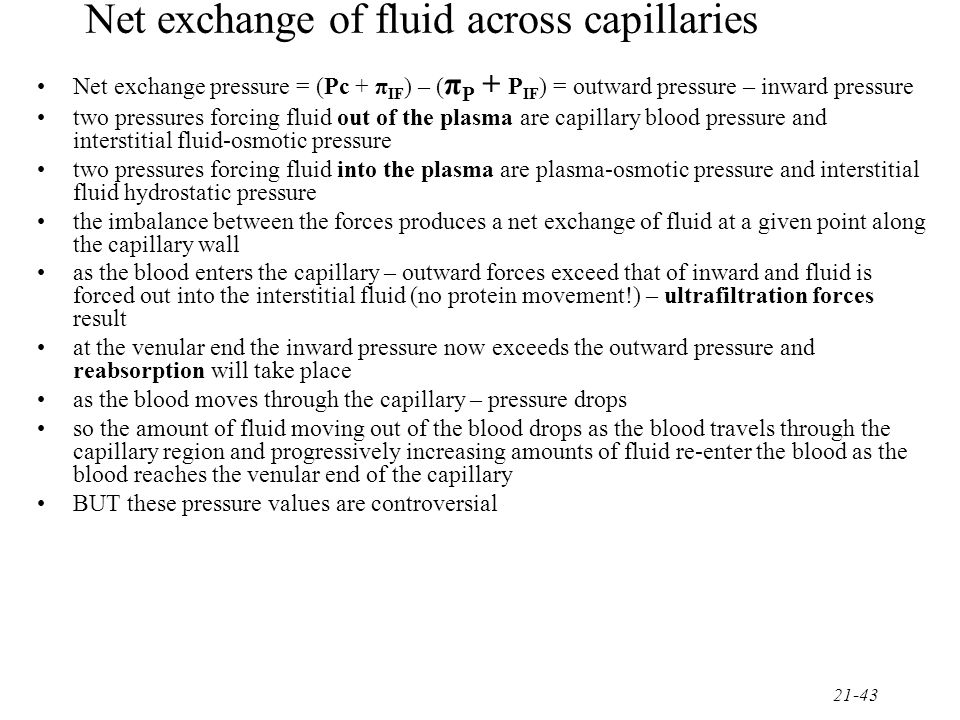 Net exchange of fluid across capillaries