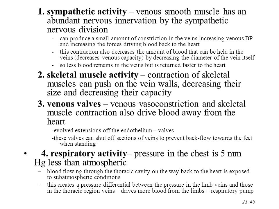 sympathetic activity – venous smooth muscle has an abundant nervous innervation by the sympathetic nervous division