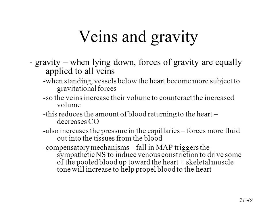 Veins and gravity - gravity – when lying down, forces of gravity are equally applied to all veins.