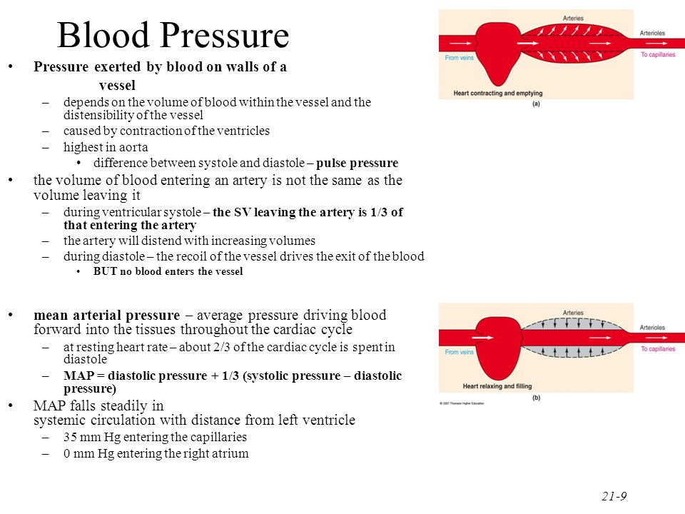 Blood Pressure Pressure exerted by blood on walls of a vessel