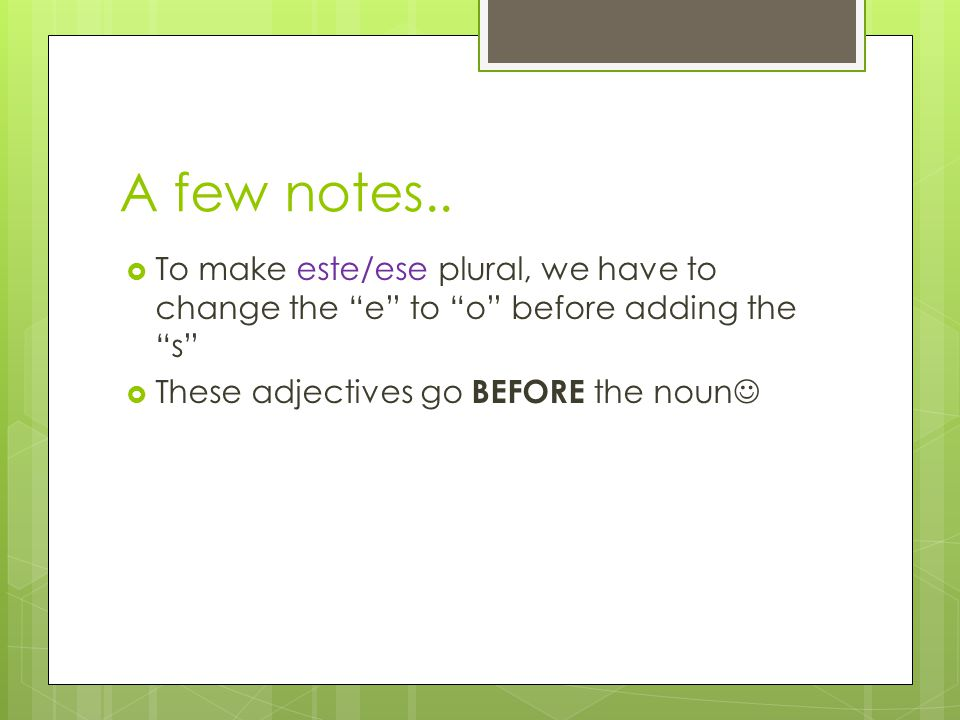 A few notes..