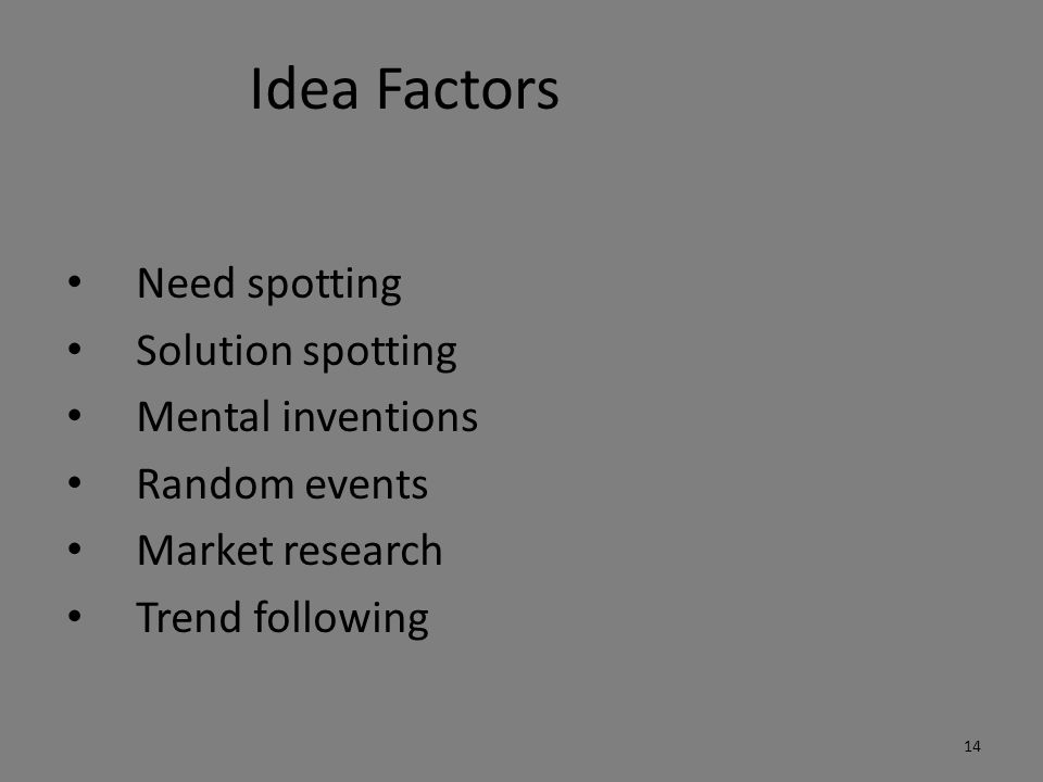 Idea Factors Need spotting Solution spotting Mental inventions