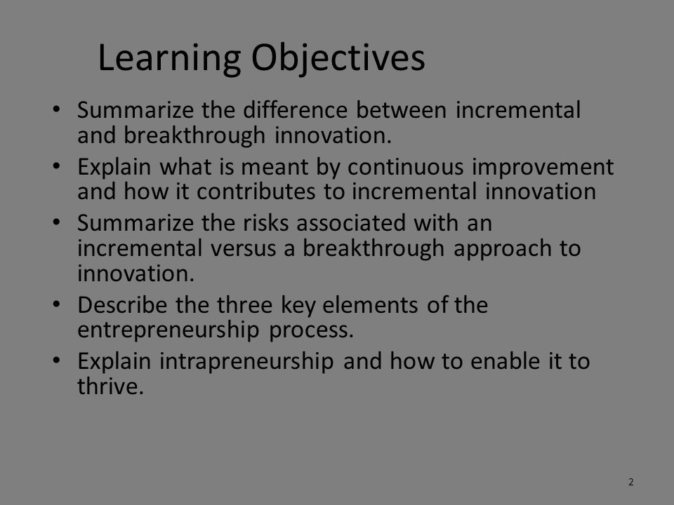 Learning Objectives Summarize the difference between incremental and breakthrough innovation.