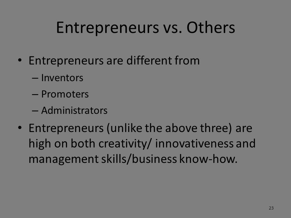 Entrepreneurs vs. Others