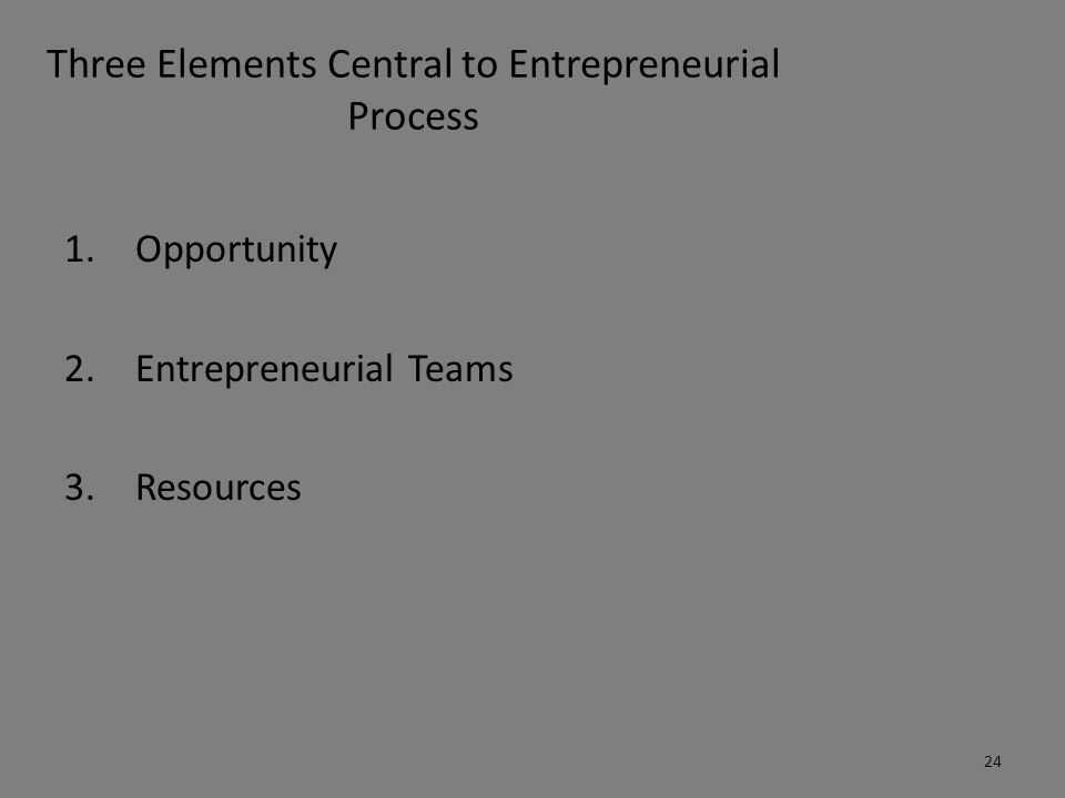 Three Elements Central to Entrepreneurial Process