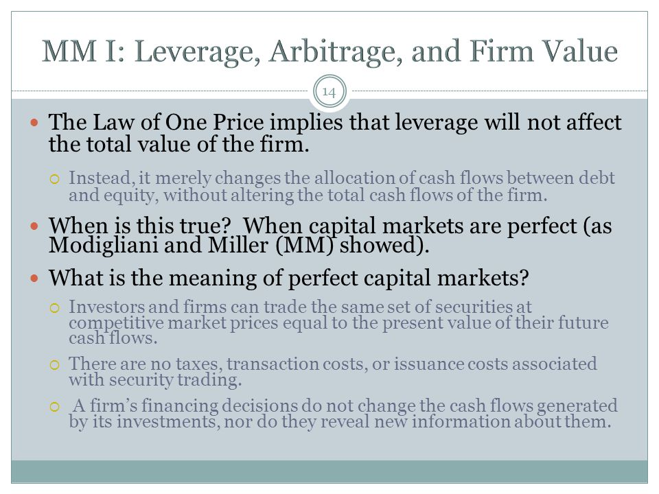 MM I: Leverage, Arbitrage, and Firm Value