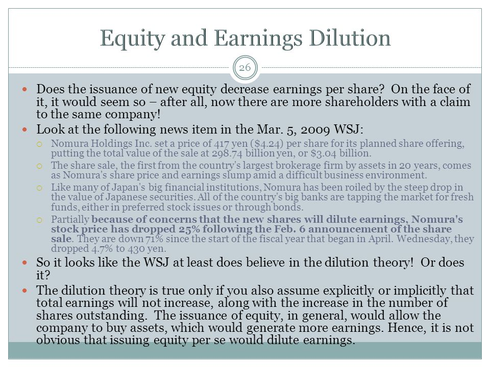 Equity and Earnings Dilution