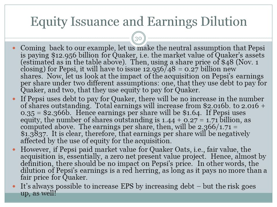 Equity Issuance and Earnings Dilution