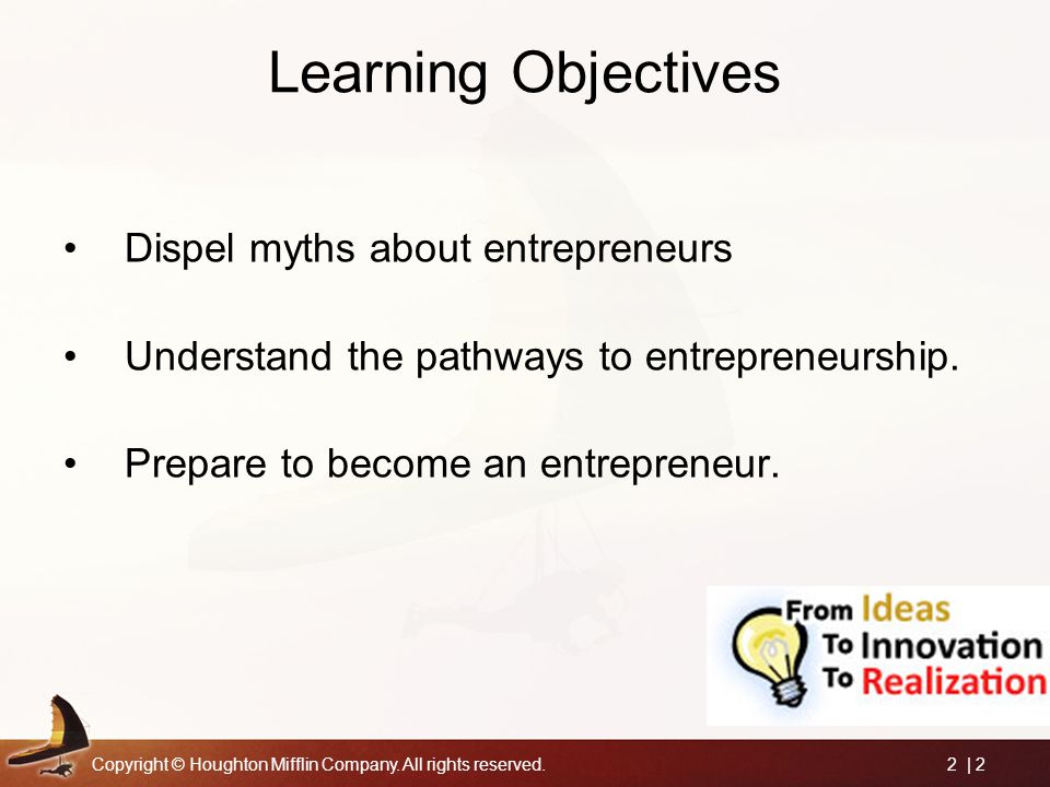 Learning Objectives Dispel myths about entrepreneurs