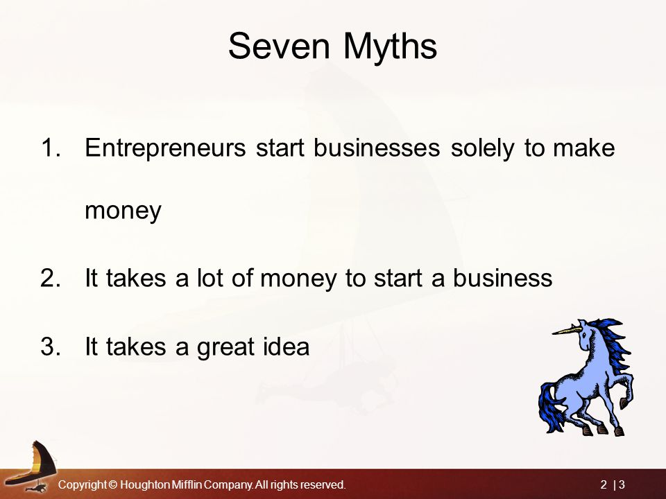Seven Myths Entrepreneurs start businesses solely to make money