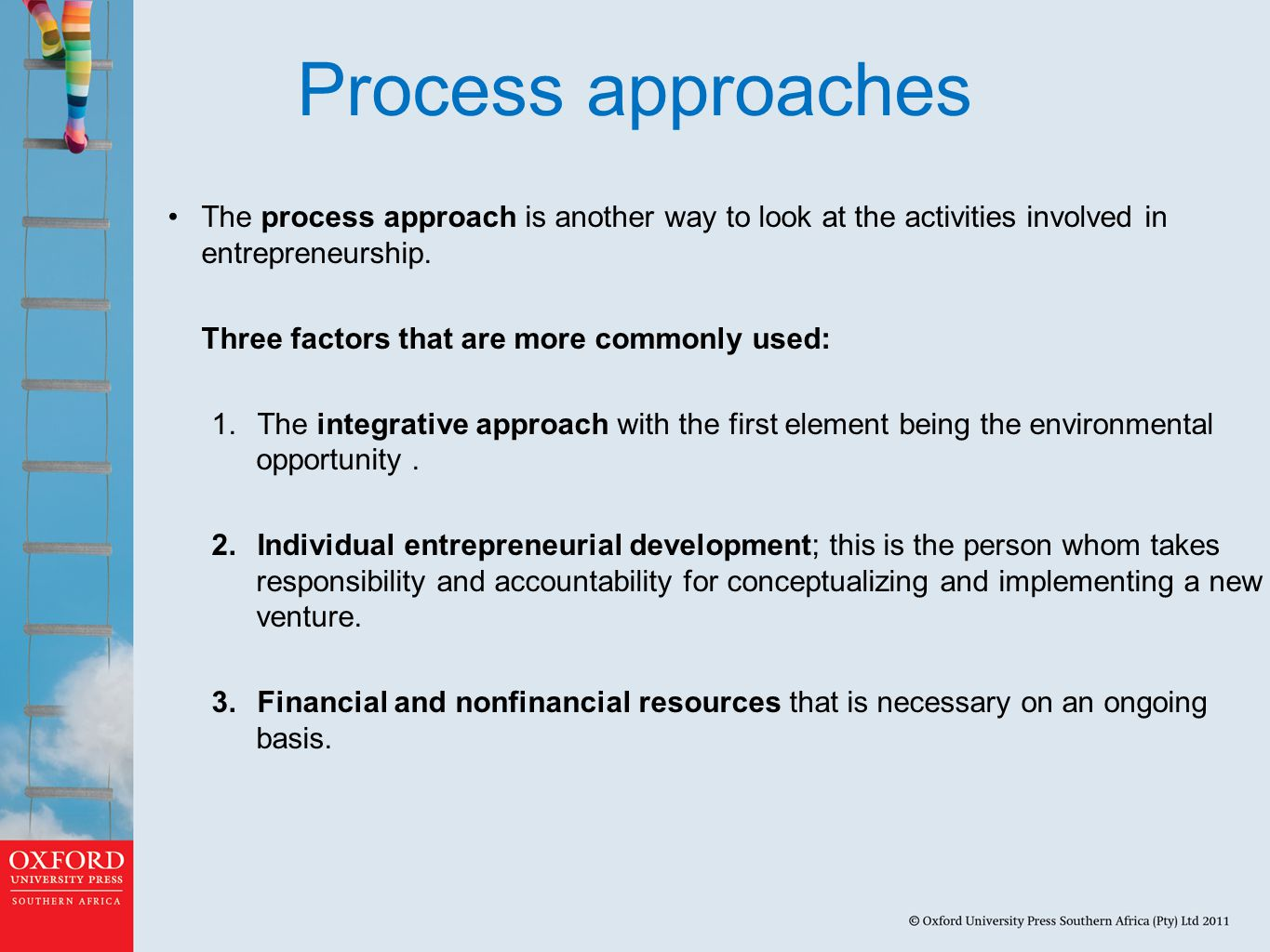 Process approaches The process approach is another way to look at the activities involved in entrepreneurship.