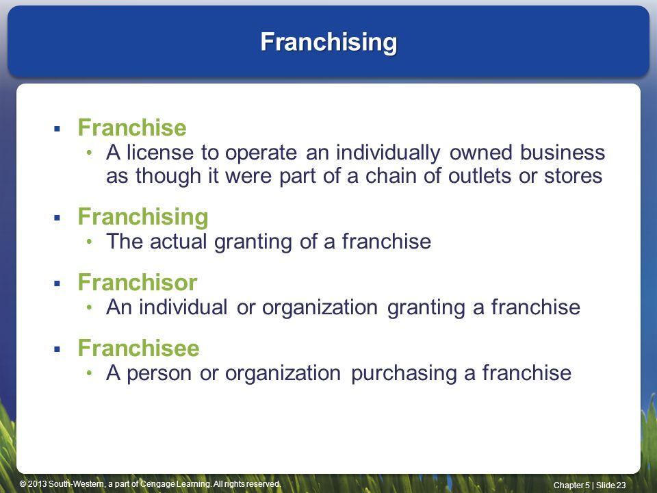 Franchising Franchise Franchising Franchisor Franchisee