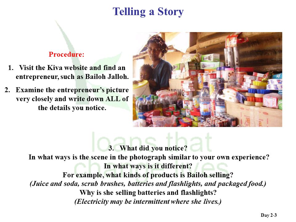 Telling a Story Procedure: