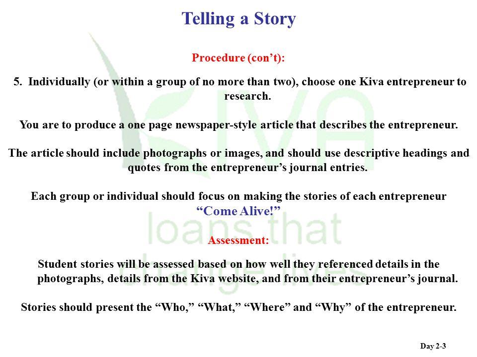Telling a Story Come Alive! Procedure (con't):