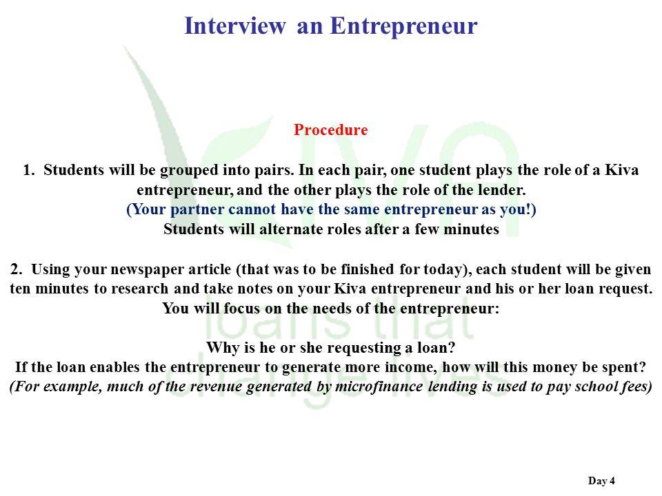 Interview an Entrepreneur