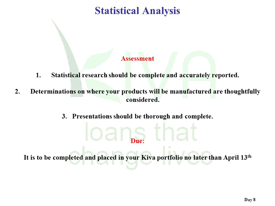 Statistical Analysis Assessment