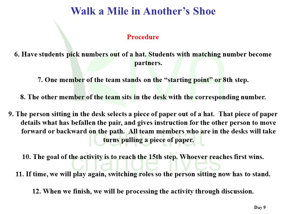 Walk a Mile in Another's Shoe