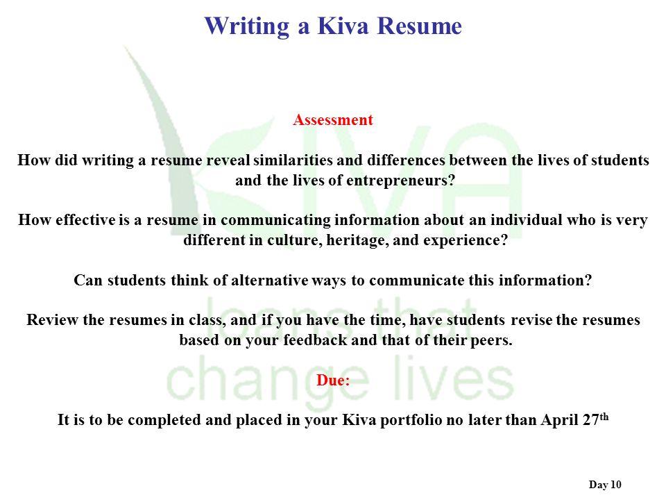 Writing a Kiva Resume Assessment
