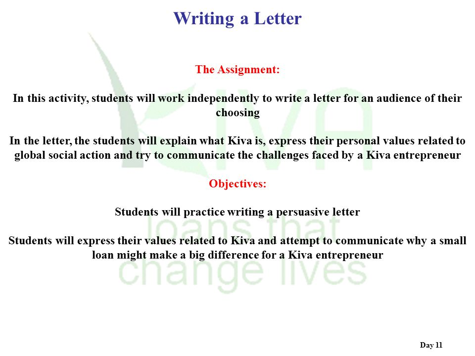 Students will practice writing a persuasive letter