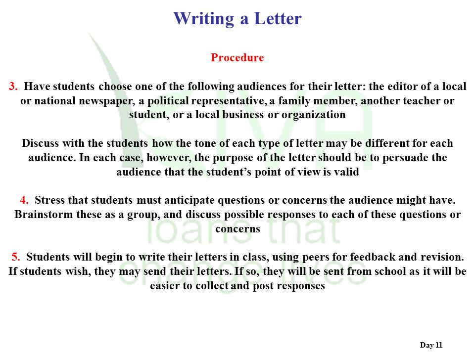 Writing a Letter Procedure