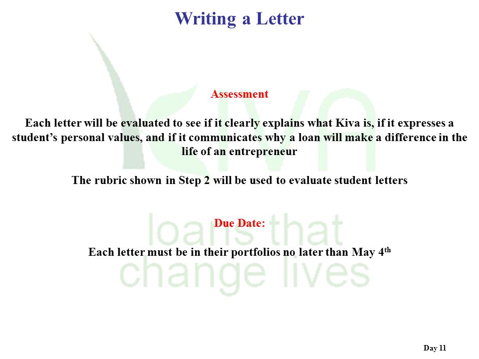Writing a Letter Assessment