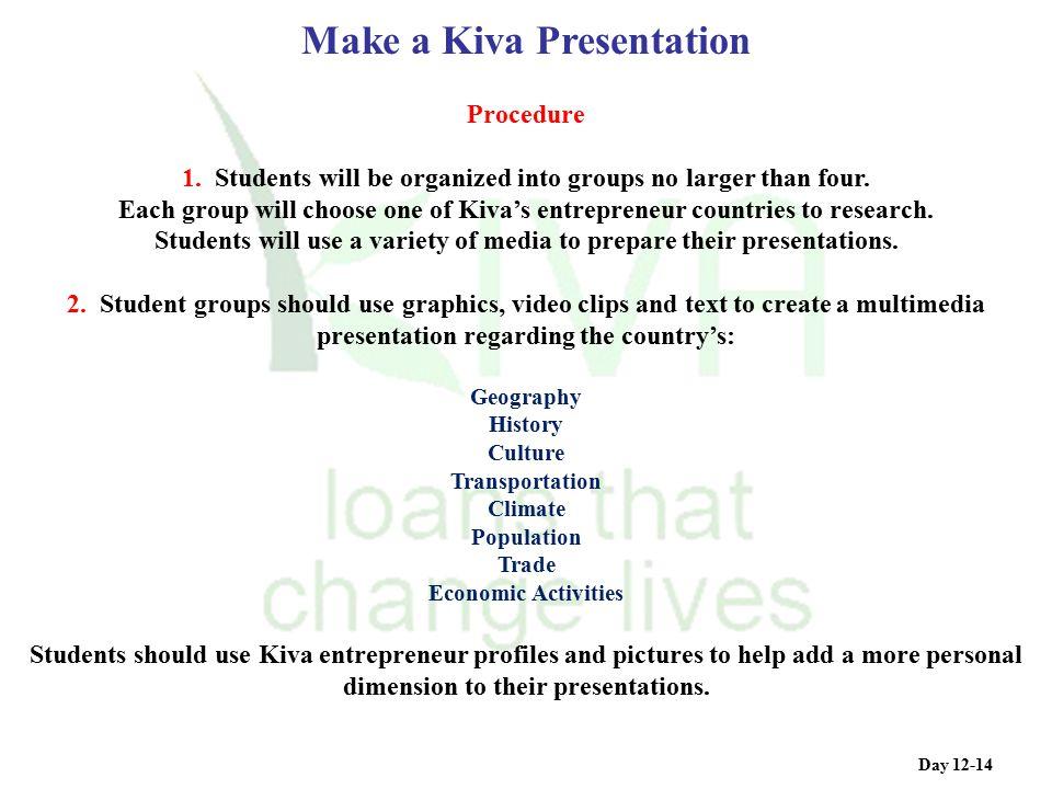 Make a Kiva Presentation