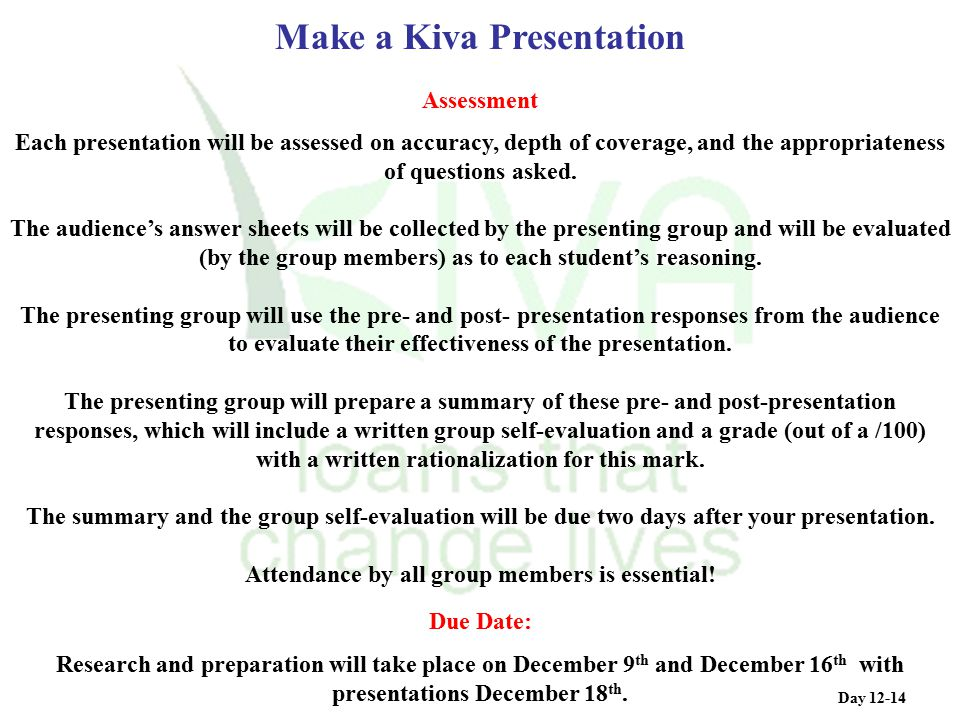 Make a Kiva Presentation Attendance by all group members is essential!