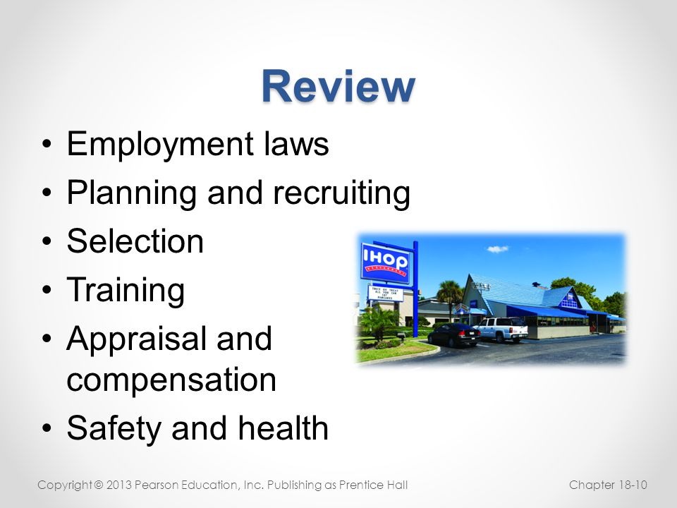 Review Employment laws Planning and recruiting Selection Training
