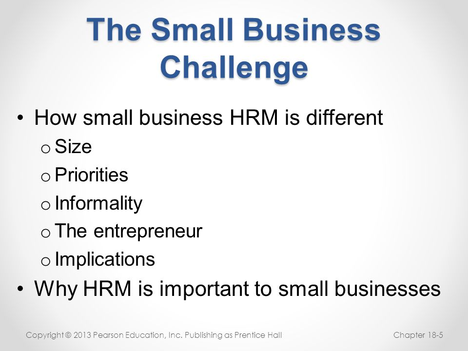 The Small Business Challenge