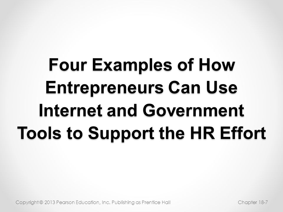 Four Examples of How Entrepreneurs Can Use Internet and Government Tools to Support the HR Effort
