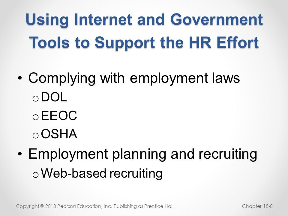 Using Internet and Government Tools to Support the HR Effort