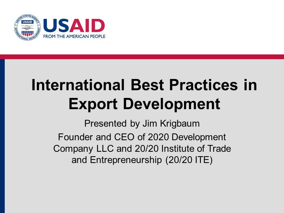 International Best Practices in Export Development