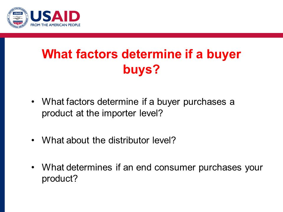 What factors determine if a buyer buys