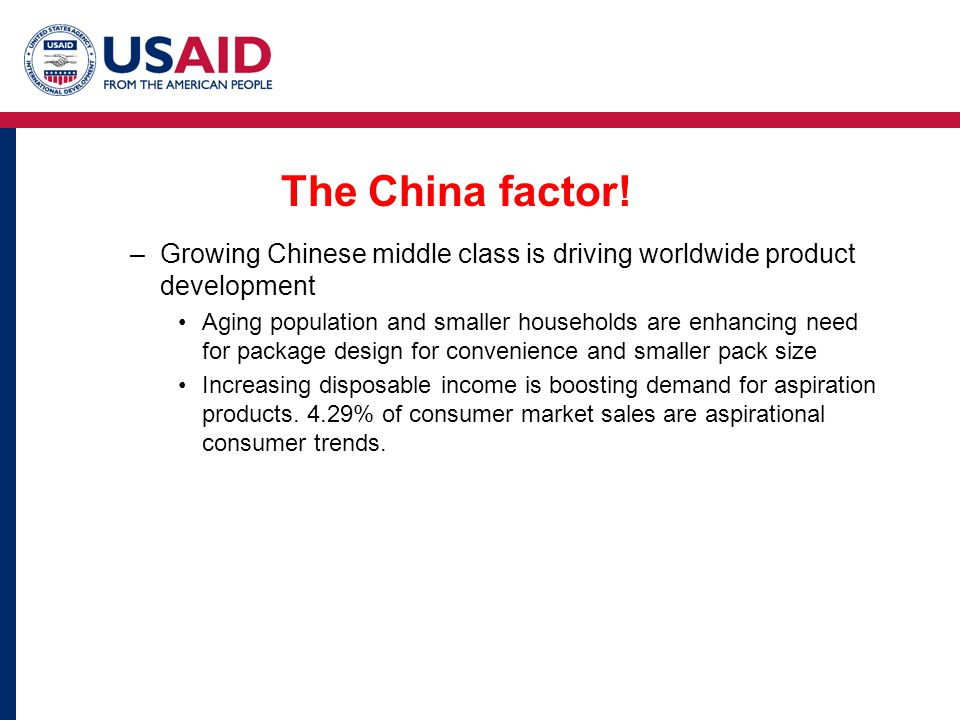 The China factor! Growing Chinese middle class is driving worldwide product development.
