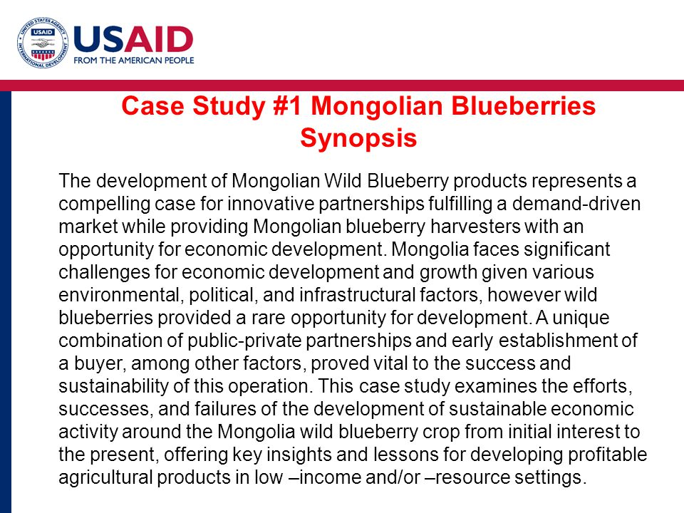 Case Study #1 Mongolian Blueberries Synopsis