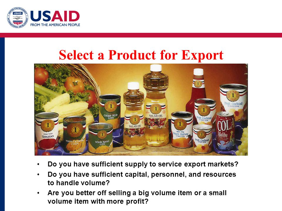 Select a Product for Export