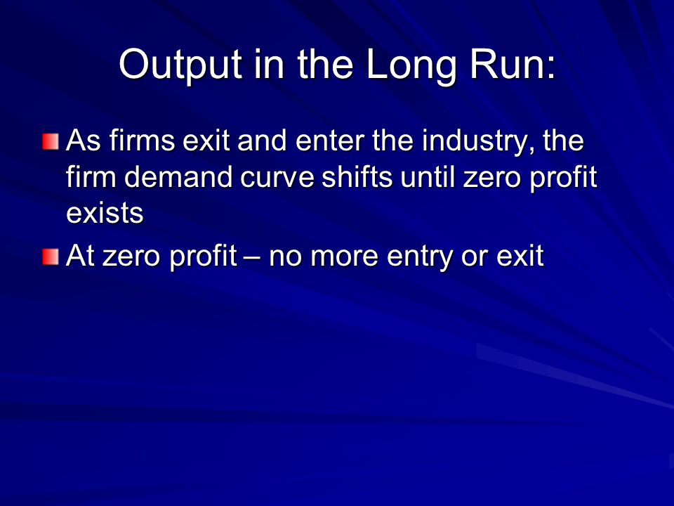 Output in the Long Run: As firms exit and enter the industry, the firm demand curve shifts until zero profit exists.