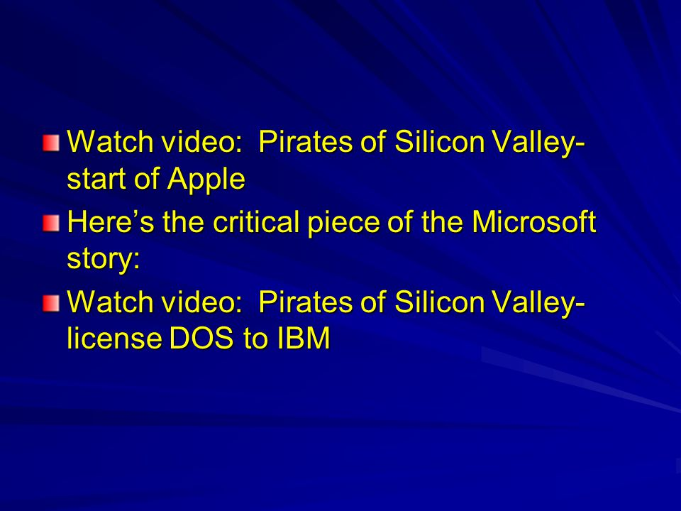 Watch video: Pirates of Silicon Valley-start of Apple