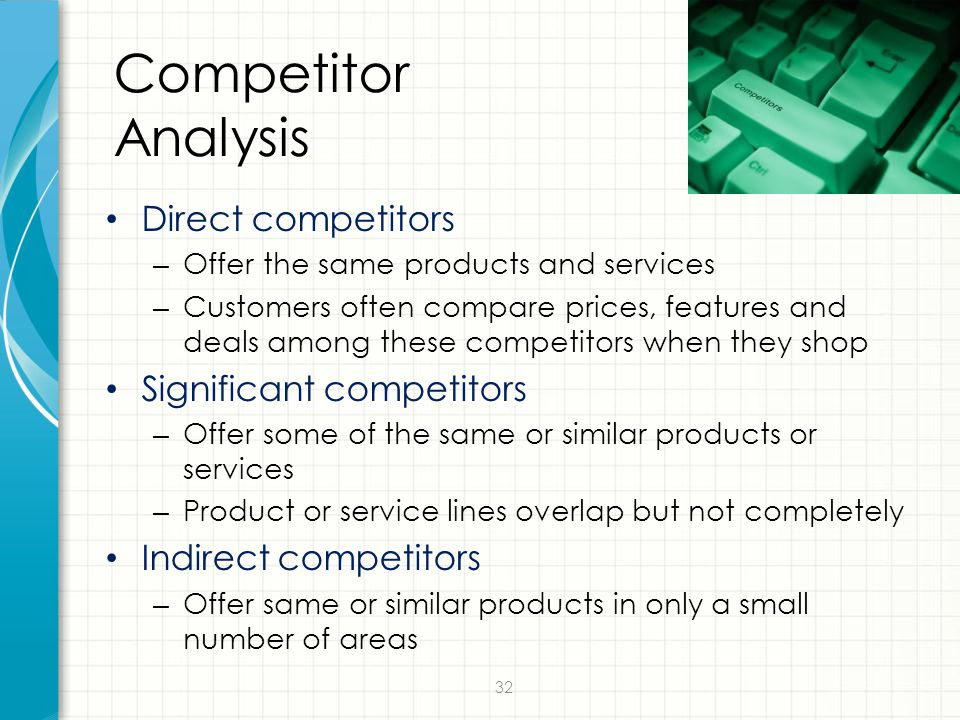 Competitor Analysis Direct competitors Significant competitors