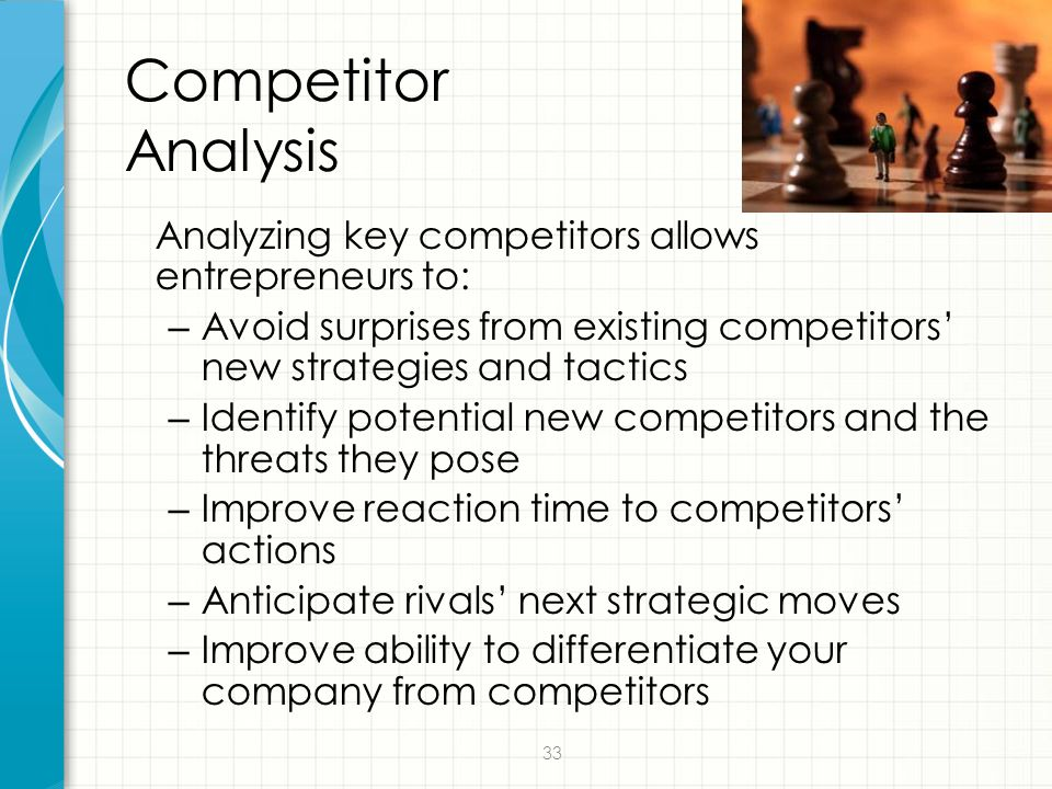 Competitor Analysis Analyzing key competitors allows entrepreneurs to: