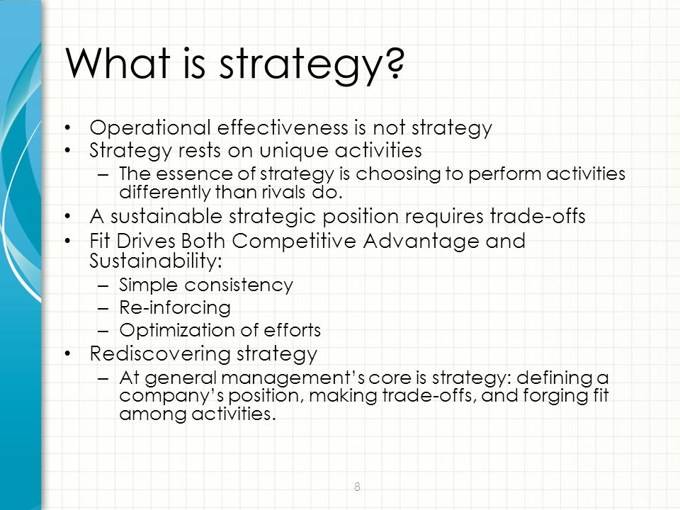 What is strategy Operational effectiveness is not strategy